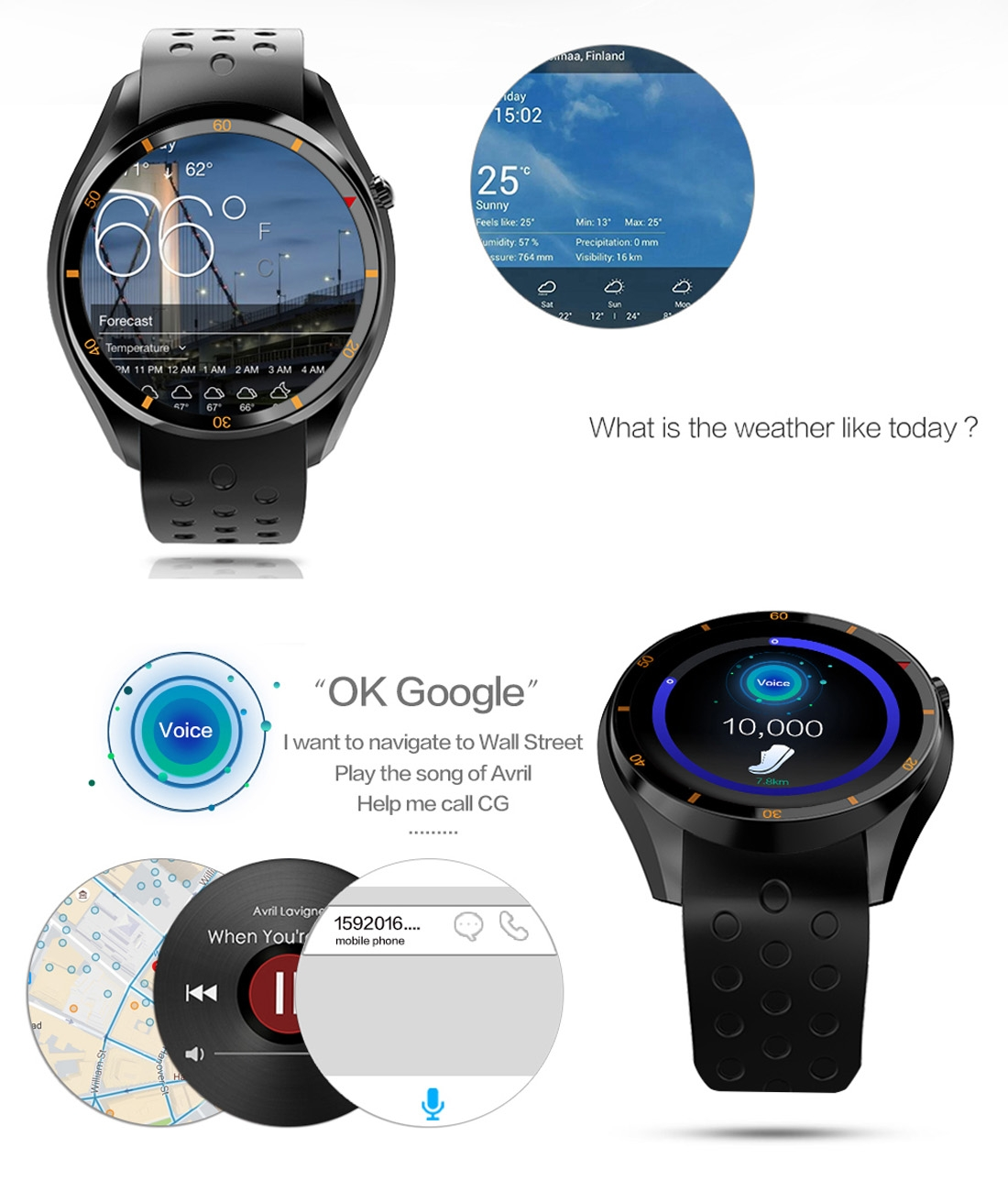 2018 neue Ankunft I3 Smart Watch Phone 512 MB + 8 GB 1,39 zoll AMOLED Android 5.1 3G Netzwerk mit Silikonband