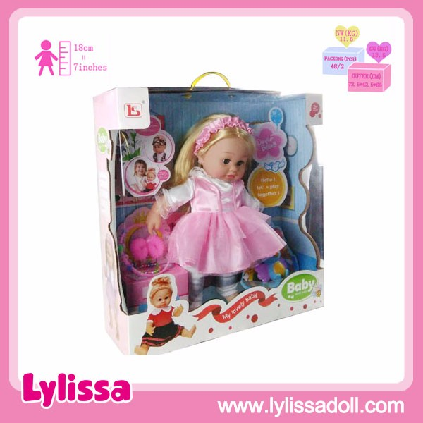 Sweet Fashion 16 Inch Vinyl Baby Doll with Accessories with Display Box