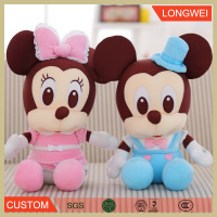 Plush stuffed toy organic Micky and Minnie Mouse