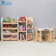 Cute Children's the plastic bookcase with study table/bookshelf