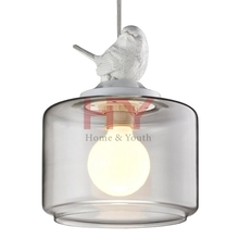 Iron Base Glass Cover with Bird Popular Vintage Metal Pendant Lightings