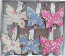 made in China hot selling new products butterflies shape creative wooden motif mini floral pegs