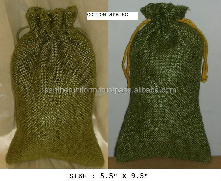 Recyclable promotional jute drawstring gift packaging pouch