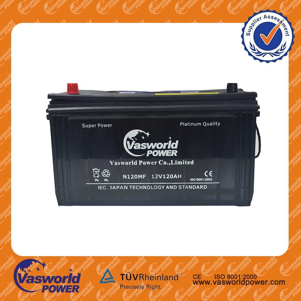 Auto start emergency battery 12v 120ah maintenance free car battery