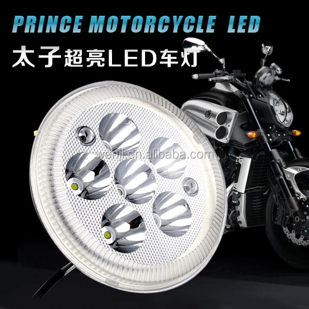 6.4 inches Round LED floodlight built motorcycle headlights 12V80V Universal