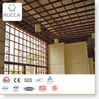 Window Grills Design!Foshan Ruccawood WPC/Wood Plastic Composites Design Ceiling Grid or Window Interior Decoration 200*200mm