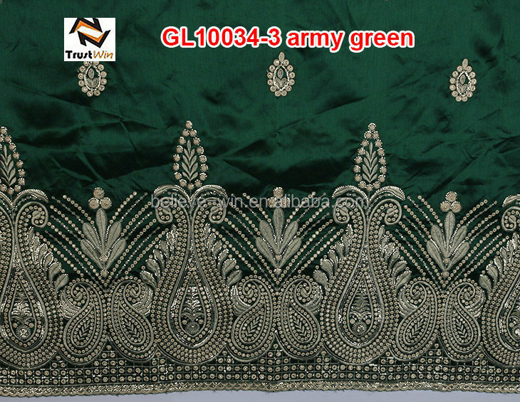 african embroidery raw silk george wrappers of GL10034-3