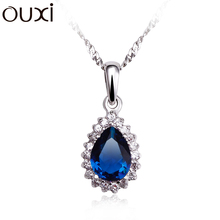 100% 925 sterling silver tear drop shape blue sapphire cz necklace