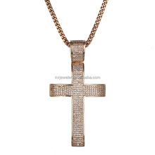 Miss Jewelry CZ Micro Paved Silver Cross Pendant Necklace