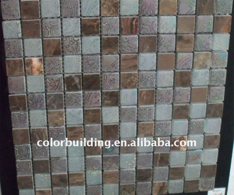 Stone and glass mix resin mosaic