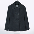 Garment factory cloth european style lady casual winter black soft wool coat