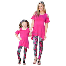 Family Matching Mother Daughter Girls Baby Drape Blouse And Floral Capris Leggings Trousers Pants Sets Mommy And Me Outfits