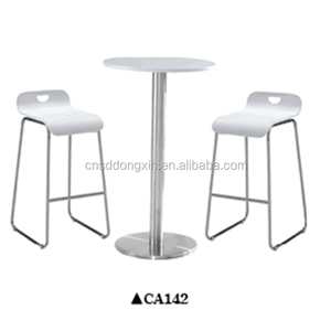 Stainless steel frame coffee shop table and chair high top bar tables and chairs CA142