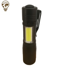 Hot Selling aluminum mini tactical zoomable super bright portable COB led torch flashlight with pen clip