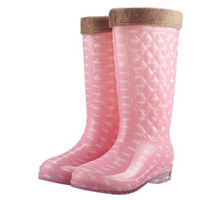 Top Fashion Women Winter Rain Boots With Fur Collar Removeable Plush Lining Ladies Rain Shoes Female Knee Boots All Season