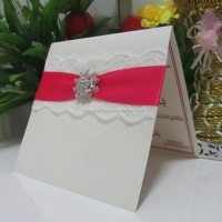 Wedding Favors Cheap Customized Ribbon Lace Buckle Wedding Cards