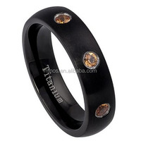 Inflatable Wrestling Ring, 5mm 3 Stone Bezel Set Orange Sapphire Matte Finish Black Titanium Wedding Band