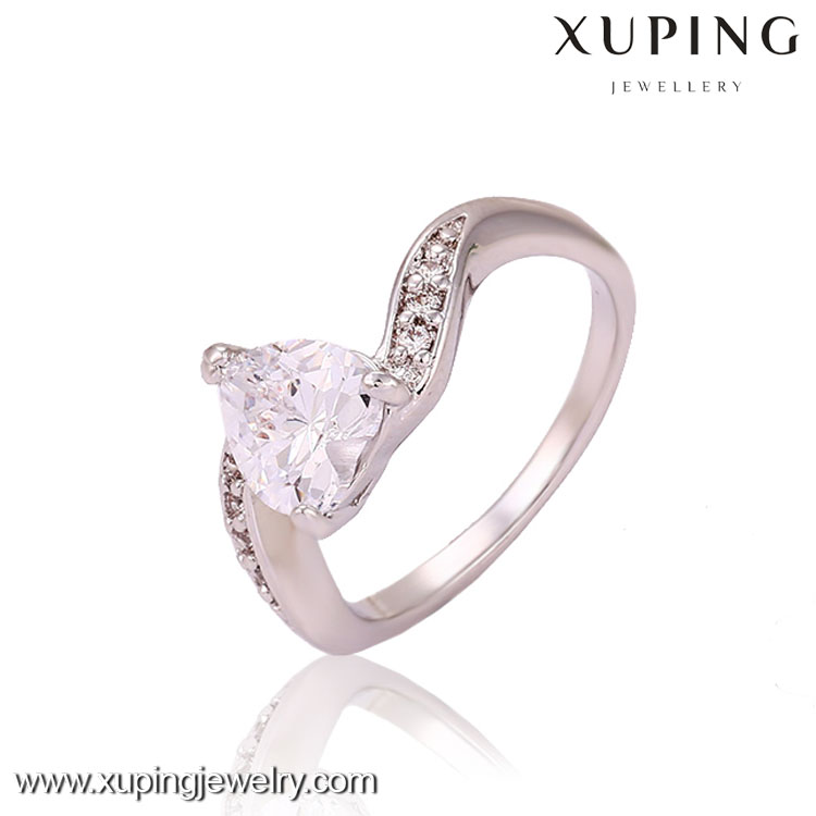 13257 High quality rhodium color heart-shaped crystal ring