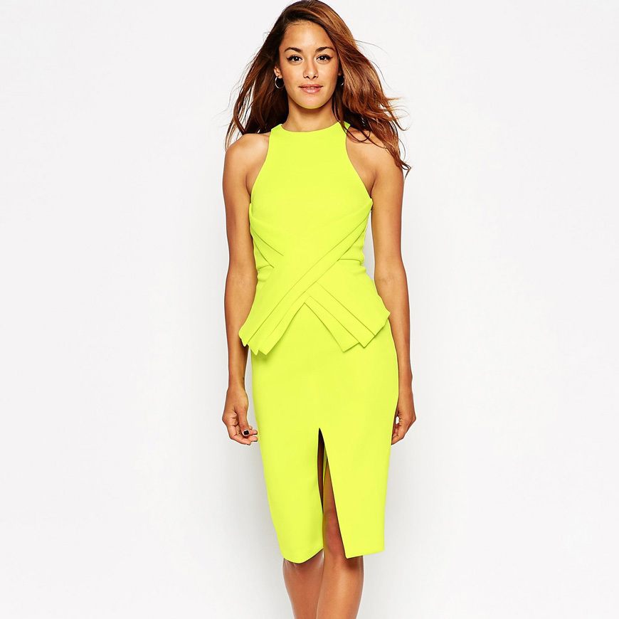 Yellow sleeveless tight pencil latest formal dress patterns wholesale prom dress