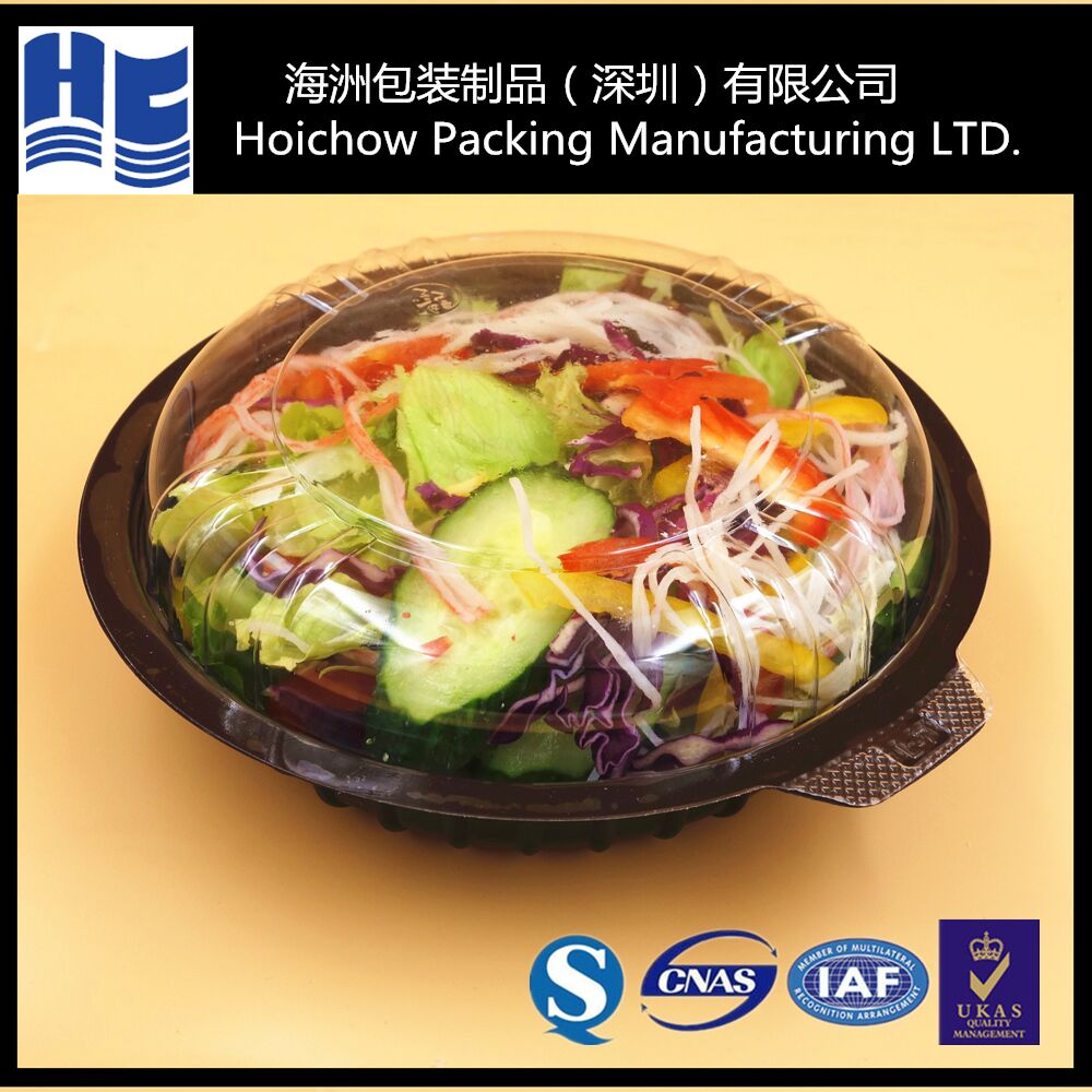 Disposable plastic round blister salad containers/blister tray for salad packaging