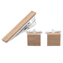 High Quality Wholesale Stainless Steel Wood Cufflinks And Tie Clip Set