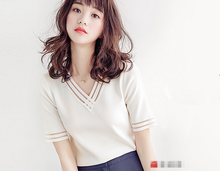 B21459A New fashion women exquisite Perspectives gauze thin comfortable knitting shirt