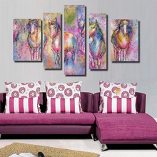 Colorful Abstract Horse Picture Wall Art Cheap China Custom Canvas Prints on Canvas