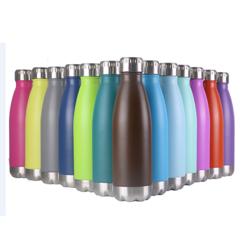 17oz Double Walled Powder Coated Stainless Steel Cola Shape Travel Sports Water Bottle