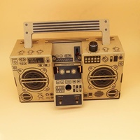 Retro Foldable Player, Radio Shaped Amplifier 3.5mm DIY Paper Cardboard Speaker for Mobile Phones Custom Pattern Promotion Gift