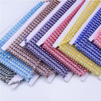 AAA chaton stone ss6 ss8 ss12 sparkling ab coating plastic banding rhinestone trim 10 yards