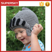 C317 Novelty Roman baby Knight Helmet Caps Cool Handmade Knit Ski Warm Winter