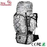 Large Capacity 65L Mens Outdoors Camping Tactical Travel Backpack Women Hiking Bag for Mountaineers Rain Cover Metal Frame