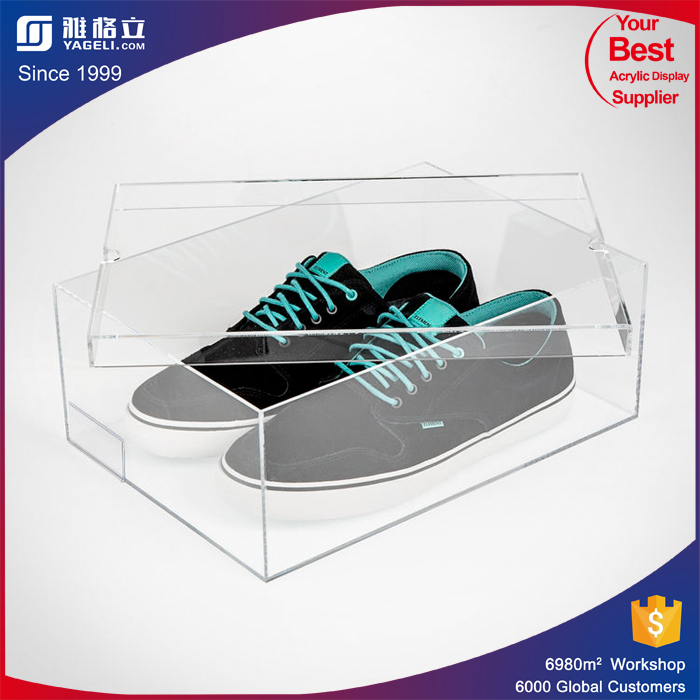 China manufacturer acrylic shoe display box for man and women sneaker shoes / clear shoe display case