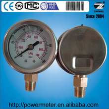 lpg gas pressure gauge oil filled pressure gauge glycerine or silicone oil filled pressure gauge