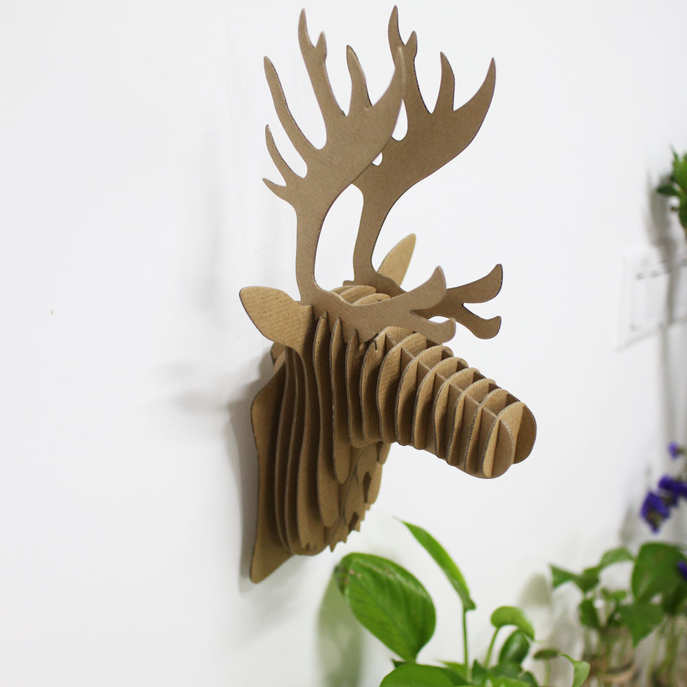 Western Style,Home Made Decoration Cardboard Deer Head Wall Hanging