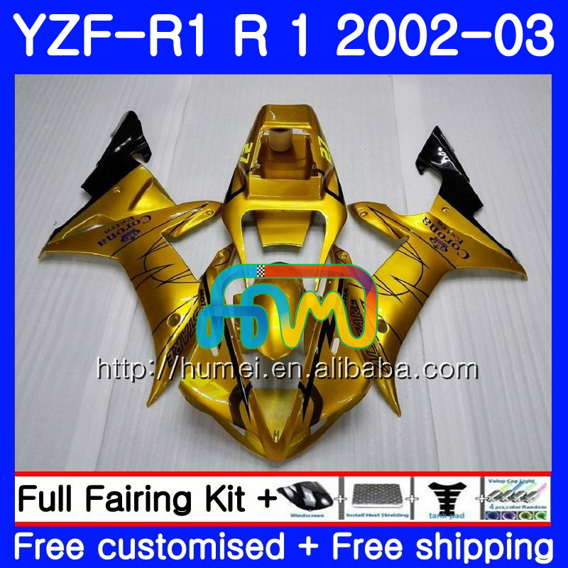Body For YAMAHA YZF 1000 YZFR1 <strong>02</strong> <strong>03</strong> YZF-1000 Gold corona Bodywork 99HM18 YZF R 1 YZF <strong>R1</strong> <strong>02</strong> <strong>03</strong> YZF1000 YZF-<strong>R1</strong> 2002 2003 <strong>Fairing</strong>