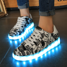KS00449A Fancy Flat Running Shoes Led Light Up Man And Woman New Design Led Shoes