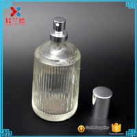 Hot Design 100ml/3.5oz crimp top decorative empty strip design your own perfume bottle with spray