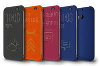 2015 new products Ultra Slim Dot View Flip Leather Smart Case for htc one m8 m9 E8 820 826