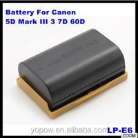 7.4V 1800mAh 2000mAh 2500mAh Recharge Camera Battery LP-E6 for Canon EOS 5D Mark II /EOS 7D/EOS 60D/EOS 5D Mark3