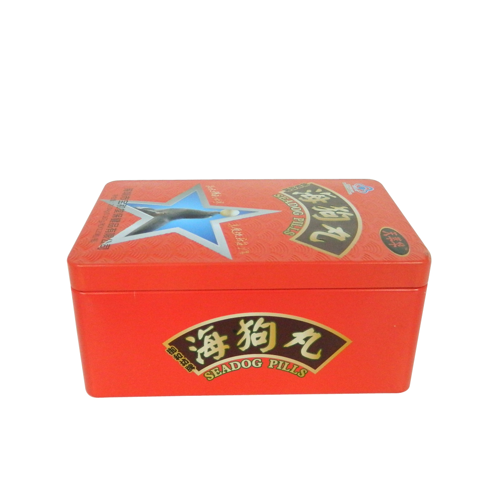 Rectangular metal gift tin box with plug lid mushroom lid for tea and health products package