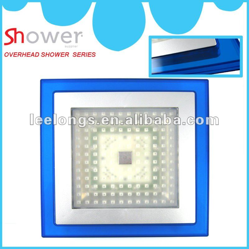Temperature Control ABS Square RGB Light LED Shower Head