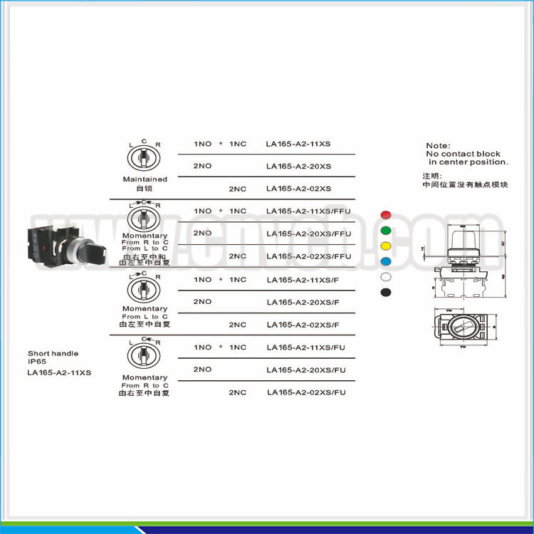 BB132 factory distributor wholesale short handle momentary turn button momentary or maintained selector switch