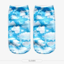 Wholesale 2016 Women Ankle Socks Funny Short Newest 3D Print Clouds&blue sky Sock Girls/Student Harajuku Sport Running Socks