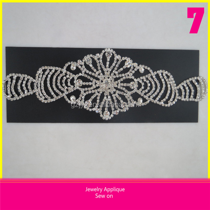 New Style Sew on Glass Rhinestone Applique 7*25.5cm Beaded Patch for Women Clothing