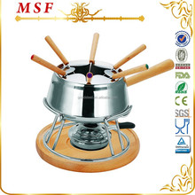 MSF-3565 stainless steel cheese & chocolate fondue set nice wooden base