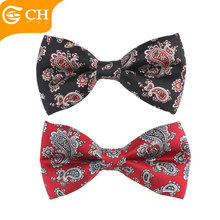 Retro Back Red and Black Paisley Wedding 100% Silk Bow Ties for Men
