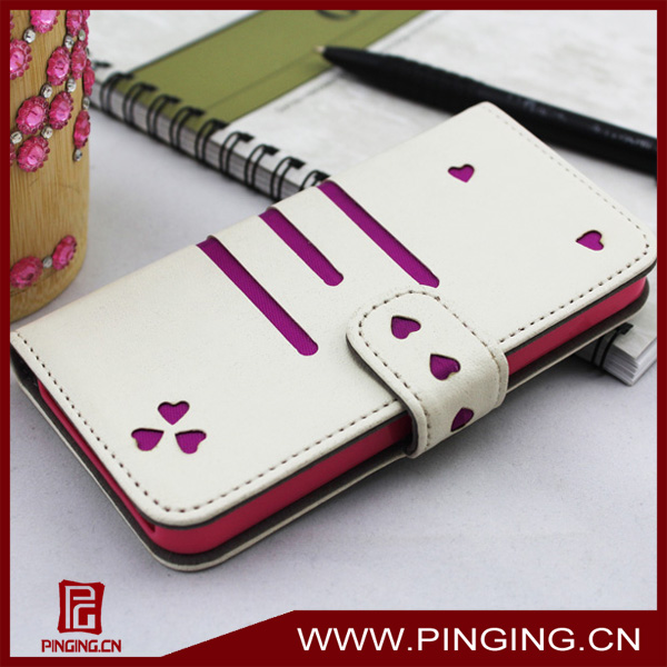 new lovely heart flip cover for iphone 5c leather case