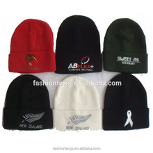 wholesale cheap custom knitted acrylic embroidered winter warm beanie