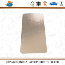 Golden film coated rectangle shape smoked salmon board/aluminum foil laminated paper board/coated paper board